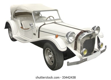 classic white cabriolet perfect for weddings isolated on white background