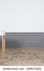 Classic white empty interior with wall panels and concrete floor
