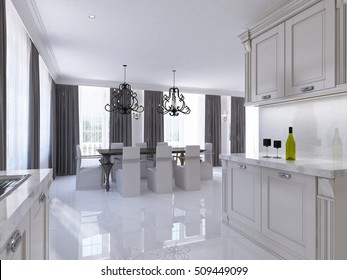 Classic white kitchen-dining room in the style of art Deco. Large dining table for eight modular kitchen with integrated appliances. 3D render.