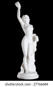 Classic white marble statue of Maenad isolated on black background