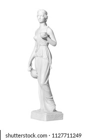 Classic white marble statue woman on a white background