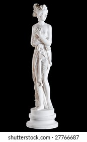 Classic white marble statue of a woman isolated on black background