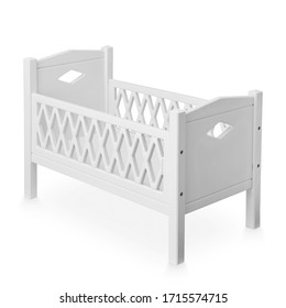 Classic White Wooden Doll Bed Isolated on White Background. Stylish Cot for Favourite Doll or Cuddly Toy Front & Side View. Contemporary Design Wooden Doll's Cots