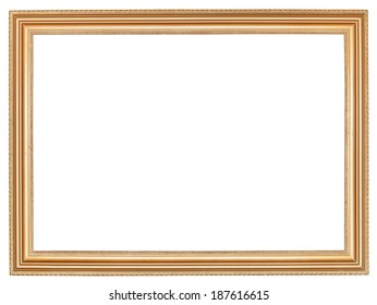 classic wide retro wooden picture frame with cut out canvas isolated on white background