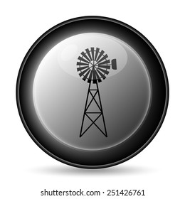 Classic windmill icon. Internet button on white background.