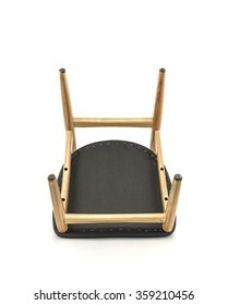 Classic Wood Chair with Black Leather Pad on White Background, Bottom View