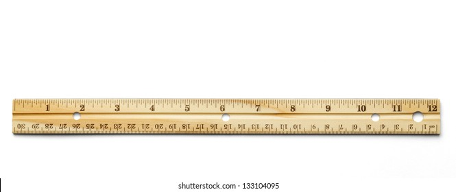 Classic wood ruler isolated on a white background.