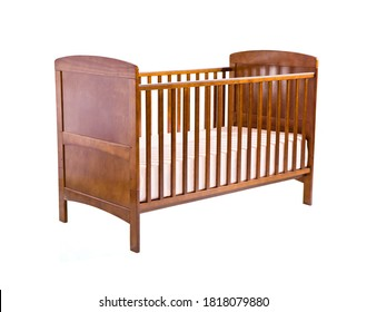 classic Wooden Baby Cradle, solid wood premium finish cradle with bed isolated on white background