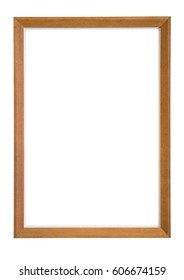 Classic wooden frame over white background.