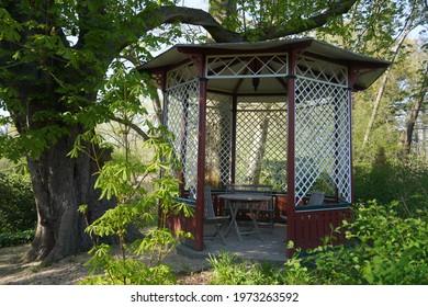 Classic wooden pavilion in Heilmannshof farm shop area , Krefeld Germany
