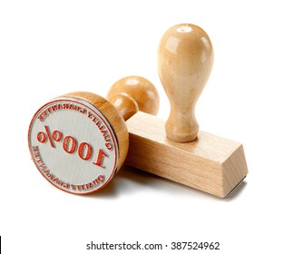 Classic wooden stamps isolated on white background