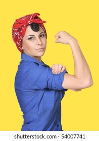 Classic World War II poster flexing her arm muscles against a yellow background. Includes clipping path