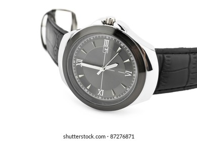 Classic wrist watch over white background
