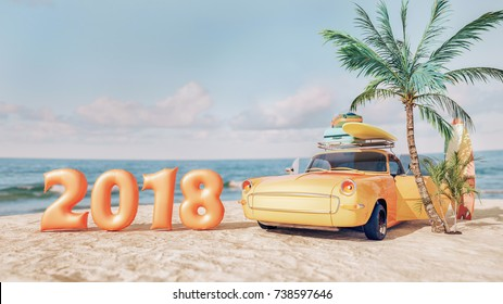 Classic yellow car parked by the sea. Happy new year 2018. 3d render and illustration.