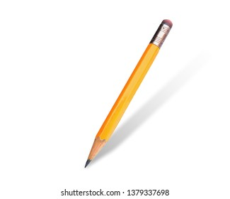 Classic yellow color Pencil with white rubber  isolated on pure white background.
