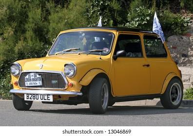 Classic yellow Mini taken at the annual London to Brighton Mini Run