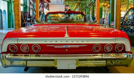 Classical American Vintage car Chevrolet Impala 1964 on Original Meet Show. Russia, St. Petersburg, September 7, 2019. Back view.