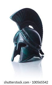 Classical ancient greek helmet of cooper isolated on white