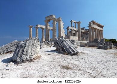 Classical ancient temple of Aphaea Athina at Aegina island in Greece.