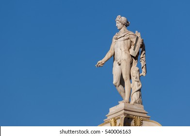 classical Apollo god statue from side