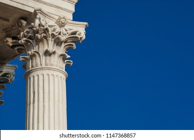 Classical architcture in Venice. Corinthian column and capital from St Nicholas of Tolentino Church, erected in the 18th centry (with copy space)