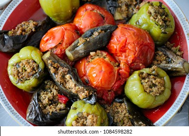Classical Azerbaijani dolma with eggplant, tomato and pepper (Summer or three sisters dolma)