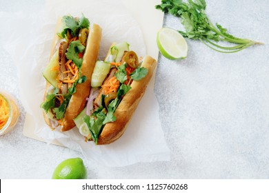 Classical banh-mi sandwich with sliced grilled pork tenderloin, shredded carrots and peeled cucumbers, jalapeno peppers and cilantro on white textured background. Top view, copy space