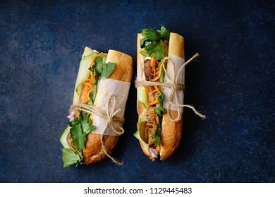 Classical banh-mi sandwich with sliced grilled pork tenderloin, shredded carrots and peeled cucumbers, jalapeno peppers and cilantro on dark blue background