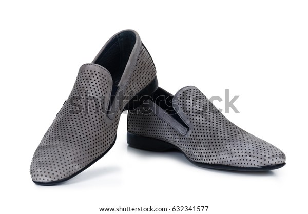 Classical beech gray male shoes isolated on white background with shadow
