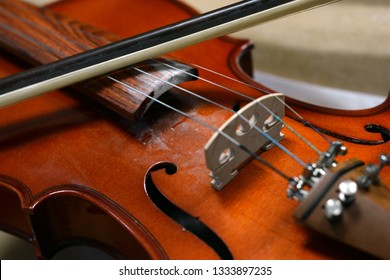Classical brown violin and bow