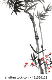 classical China plum blossom and bamboo
