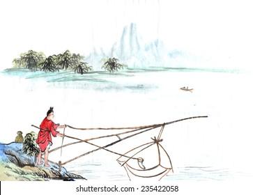 classical China--oldman fishing, zen