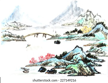classical China--river and hill, Chinese painting
