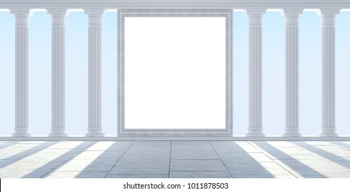 Classical colonnade  against the blue sky. with empty billboard. 3D Render
