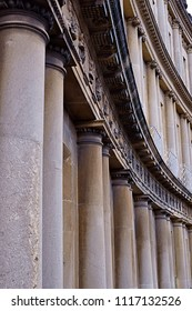 Classical columns of an old building