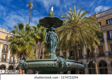 Classical Fountain of the Three Graces at Placa Reial in Barcelona, Spain