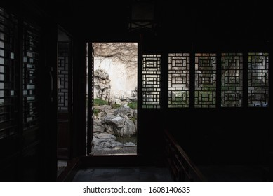 Classical garden of image in Suzhou,Jiangsu,China.It is meaningful or emotional by the designed architecture.