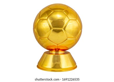 Classical golden soccer ball or football trophy isolated on white background.