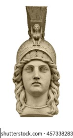 Classical greek goddess Athena head sculpture isolated on white