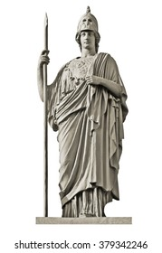 Classical Greek goddess Athena statue isolated on white