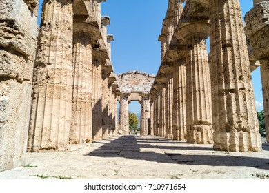 Classical greek temple at ruins of ancient city Paestum, Cilento,  Italy