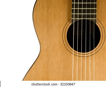 Classical guitar. Close up view. Nylon strings. Isolated on white background.