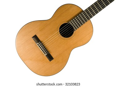 Classical guitar. Nylon strings. Isolated on white background.