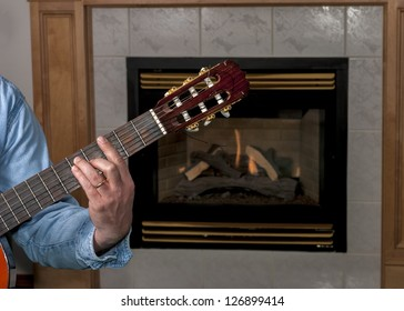 Classical guitar played by musician