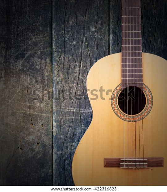 Classical Guitar Wallpaper Isolated On White Stock Photo