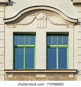 classical house windows with green frame, Germany