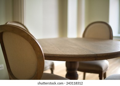 Classical interior of a dining table and chairs