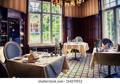 classical interior of German restaurant