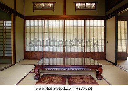 Classical Japanese Dining Room With Dinner Table