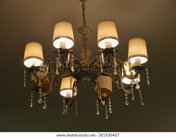 Classical luxury retro vintage style Chandelier with dark walls background